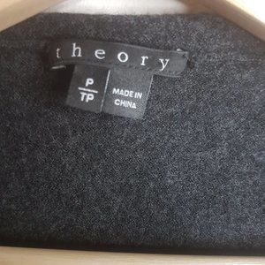 Theory Sweaters - Theory Charcoal Gray Open Waterfall Wool Cardigan